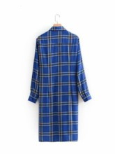 Single-Breasted Polo Neck Plaid Women's Day Dress