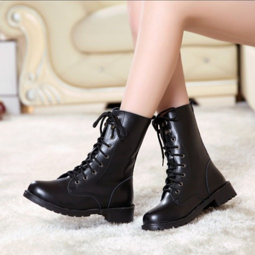 Lace-Up Front Block Heel Round Toe Classical Women's Martin Boots