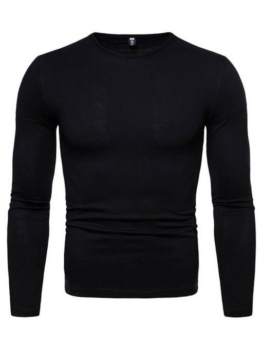 European Scoop Neckline Plain Straight Men's T-Shirt