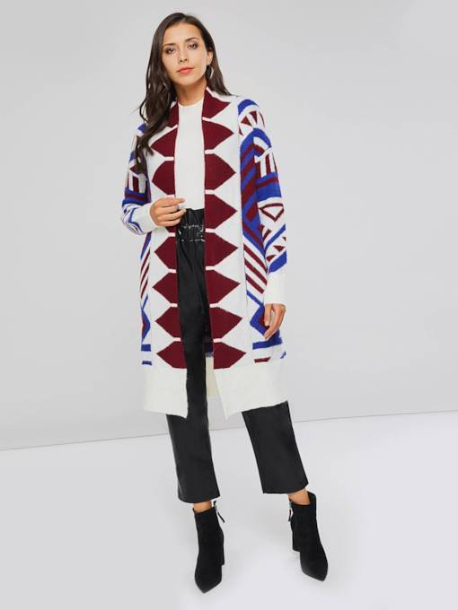 Mid Length Geometric Print Women's Sweater Coat