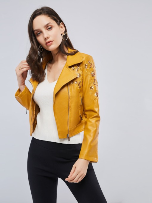 Chic Rivet Crooped Plain Zipper Up Women's PU Jacket