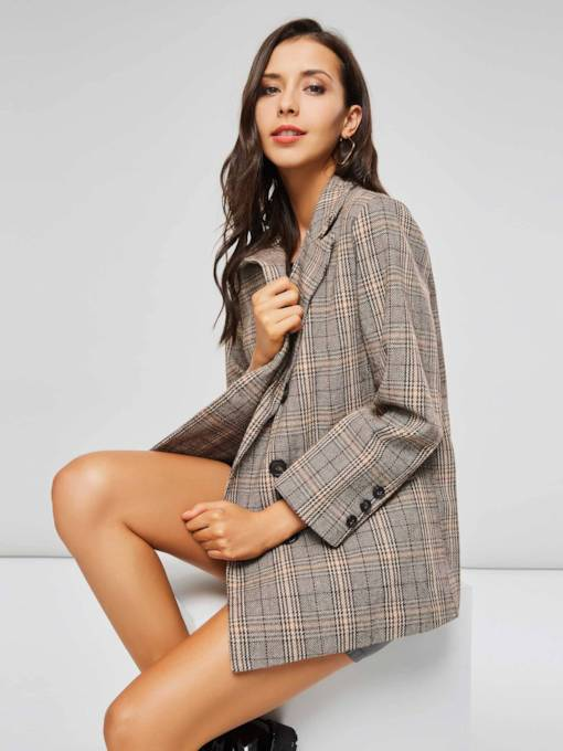Blazer Femme à Carreaux Revers Double Boutonnage Mi-Longs