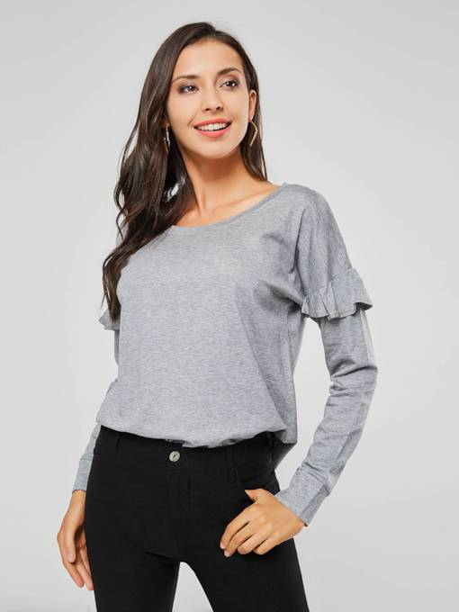 Ruffle Scoop Neck Solid Color Women's Sweatshirt