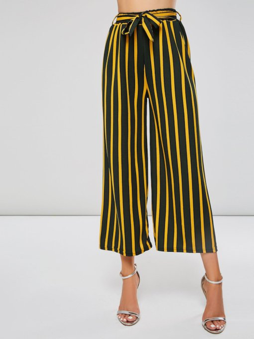 Stripe Color Block Lace-Up Women's Wide Legs Cropped Pants