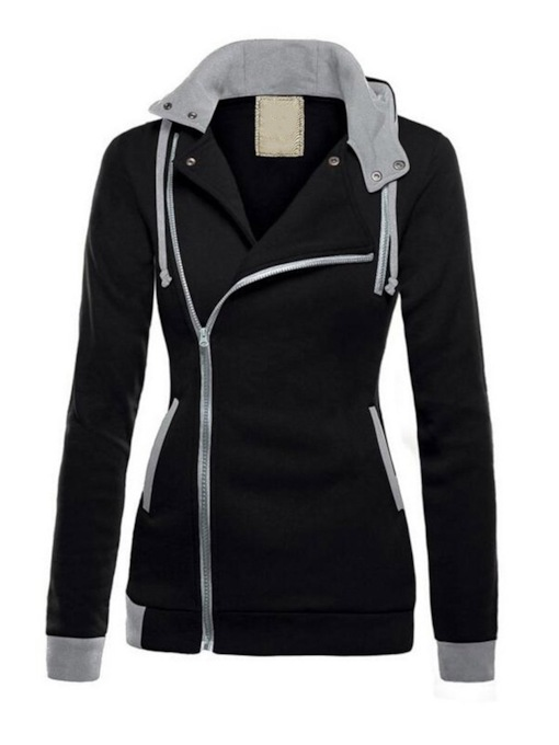 Asymmetric Zip Color Block Dual Pocket Women's Hoodie