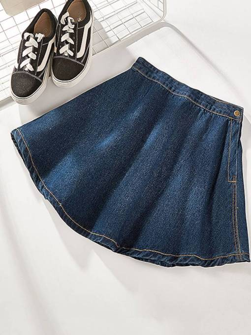 A Line Pleated Women's Denim Skirt