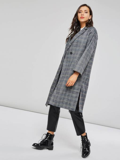 Classic Plain One Button Pockets Plaid Women's Long Overcoat