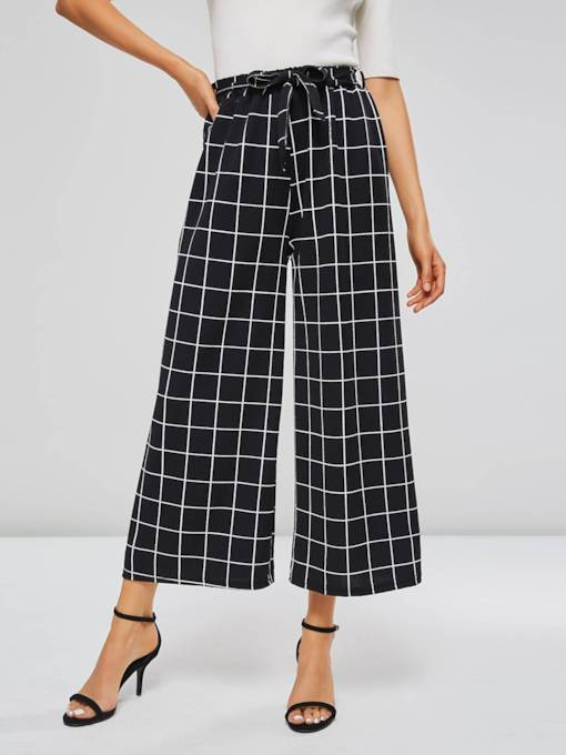 Gingham Print Color Block Lace-Up Women's Casual Pants