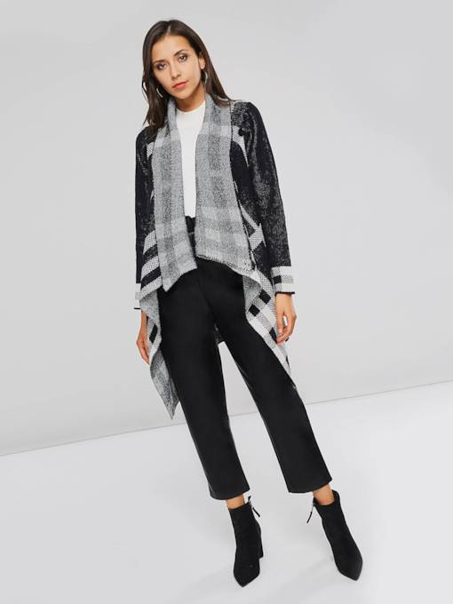 Irregular Plaid Open Front Casual Women's Cardigan