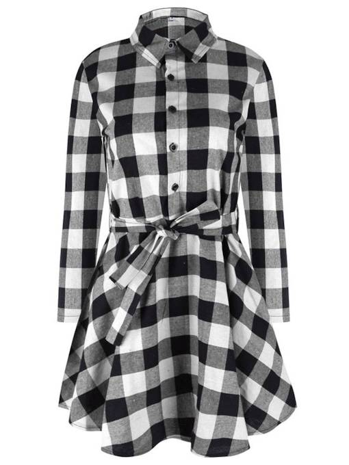 Lapel Plaid Single-Breasted Belt Women's Long Sleeve Dress