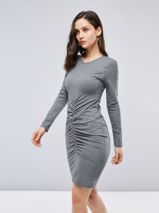 Gray Ruffled Long Sleeve Women's Bodycon Dress