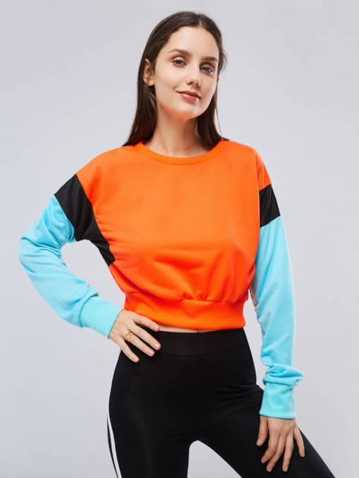 Round Neck Color Block Women's Cropped Hoodie