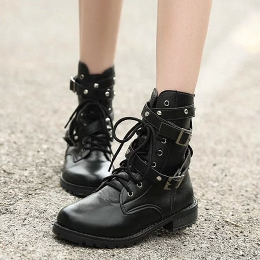 Lace-Up Front Block Heel Buckle Round Toe Trendy Martin Boots