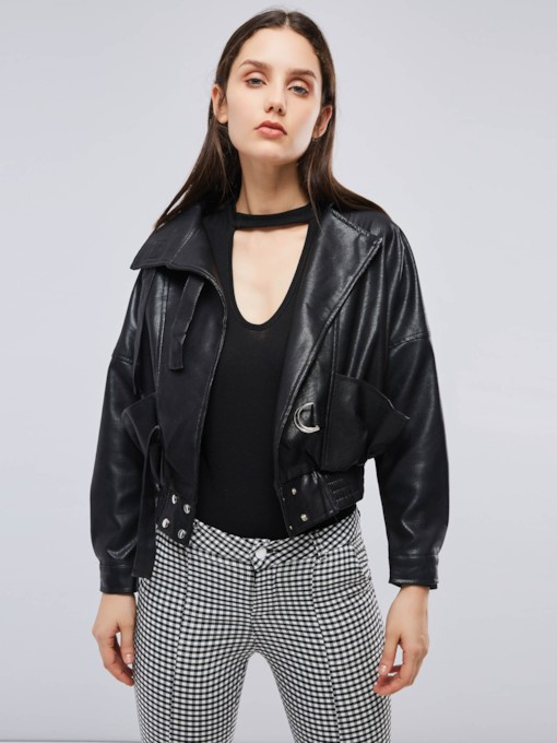 Rock Cropped PU Pleated Women's Black Jacket