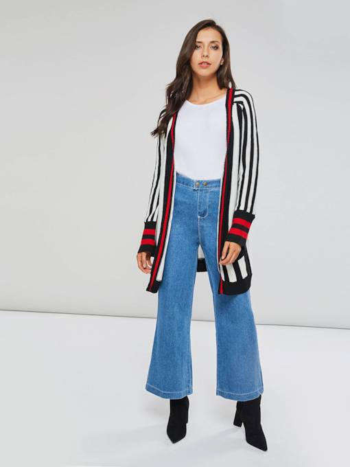 Stripe Color Block Open Front Women's Cardigan