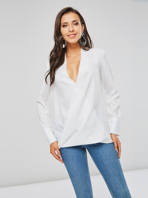 OL Plain V-Neck Wrap Design Solid Color Women's Blouse