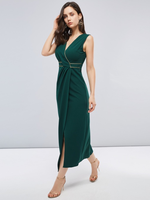 Green Sleeveless Split Women's Maxi Dress