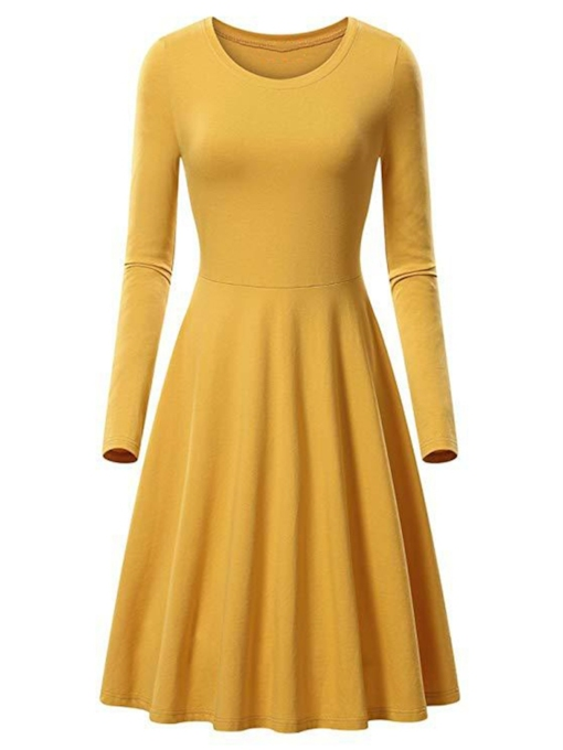 Round Neck Plain Women's Long Sleeve Dress