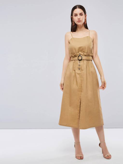 Strappy Buckled Split Women's Day Dress