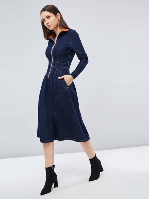 Long Sleeve Zip Denim Long Sleeve Dress