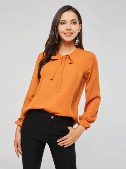 Flare Sleeve Bowknot Tie Neck Loose Women's Blouse