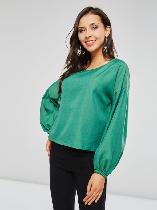 Plain Scoop Neck Lantern Sleeve Women's Blouse