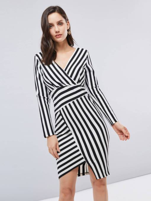 Long Sleeve Striped Asymmetrical Women's Bodycon Dress