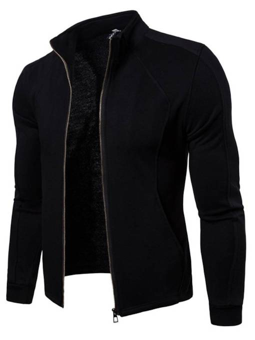 Casual Hooded Zipper Plain Slim Men's Hoodie