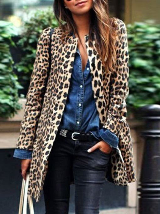 Mid-Length Leopard Print Women's Trench Coat