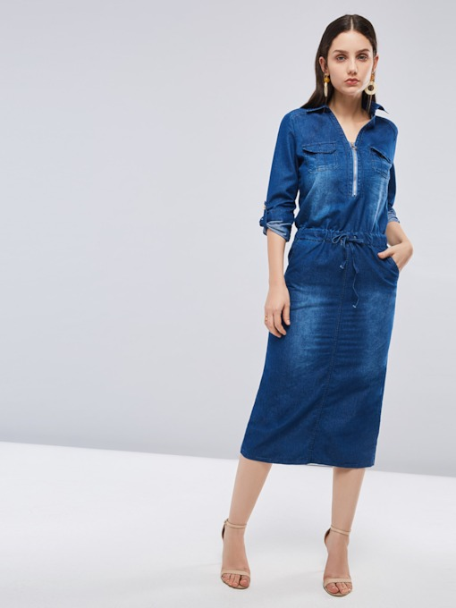 Long Sleeve Denim Button Pocket Zip Day Dress