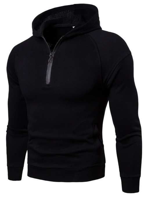 Hooded Zipper Plain Slim Men's Hoodie