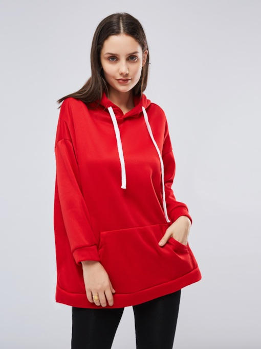 Plain Mid Length Solid Color Women's Hoodie