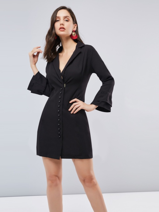 Lapel Half Sleeve Black Women's Day Dress