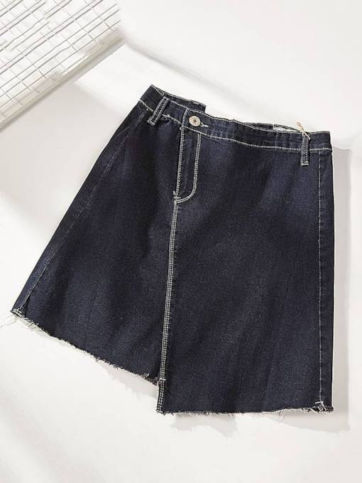 Asymmetric One Button A Line Women's Denim Skirt
