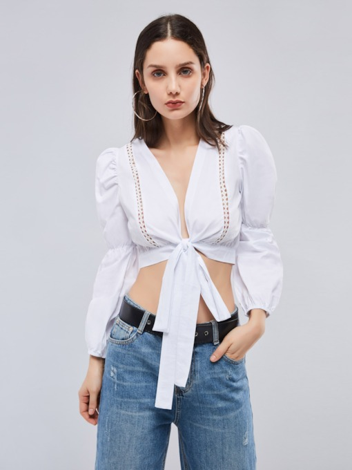 Plunge Neck Tie Waist Lantern Sleeve Women's Crop Blouse