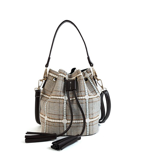 Plaid Knitted Barrel Shaped Women Shoulder Bag