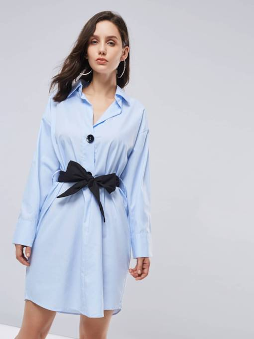 Blue Lapel Lace up Women's Shirt Dress