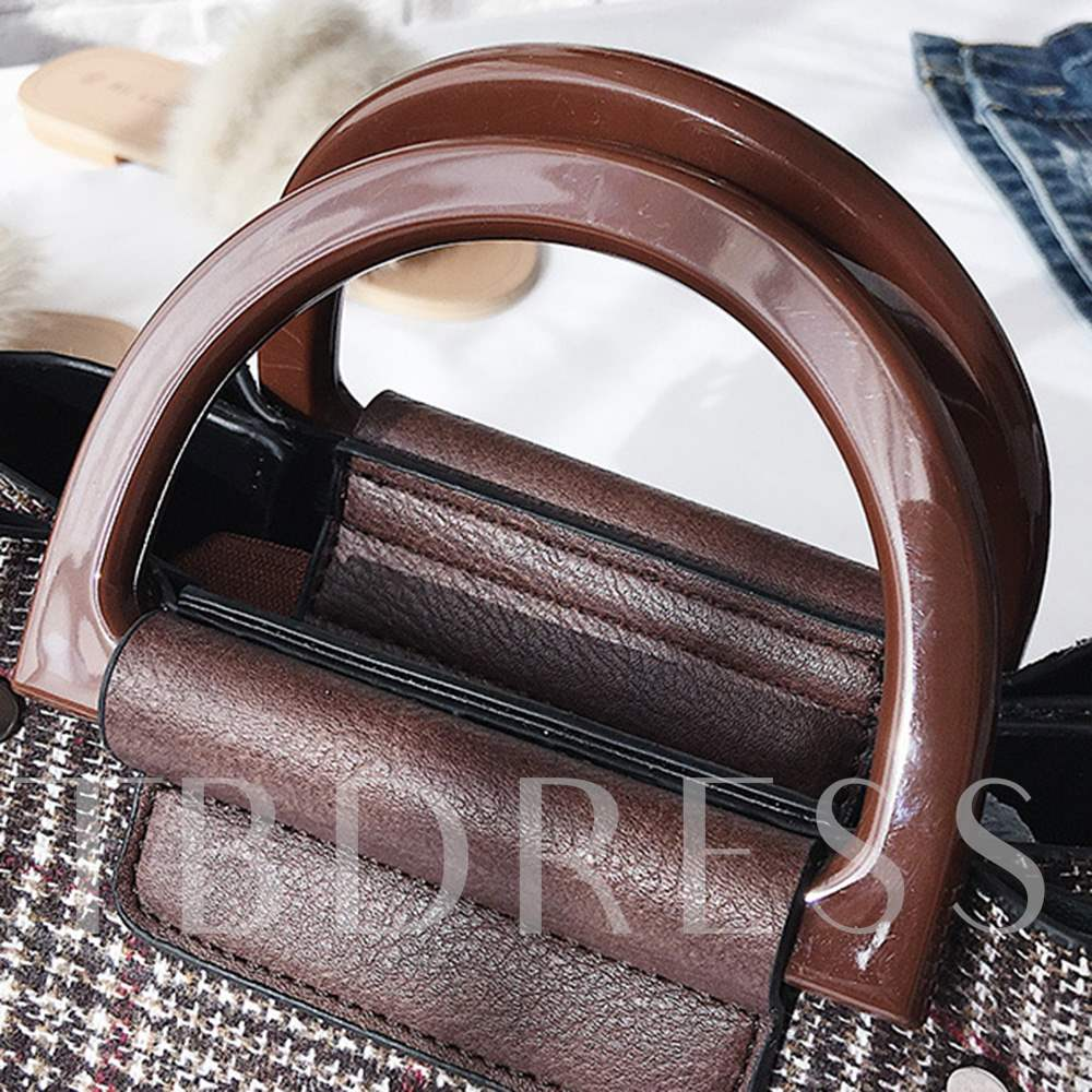 Plaid Synthetic Leather Zipper Women Tote Bag