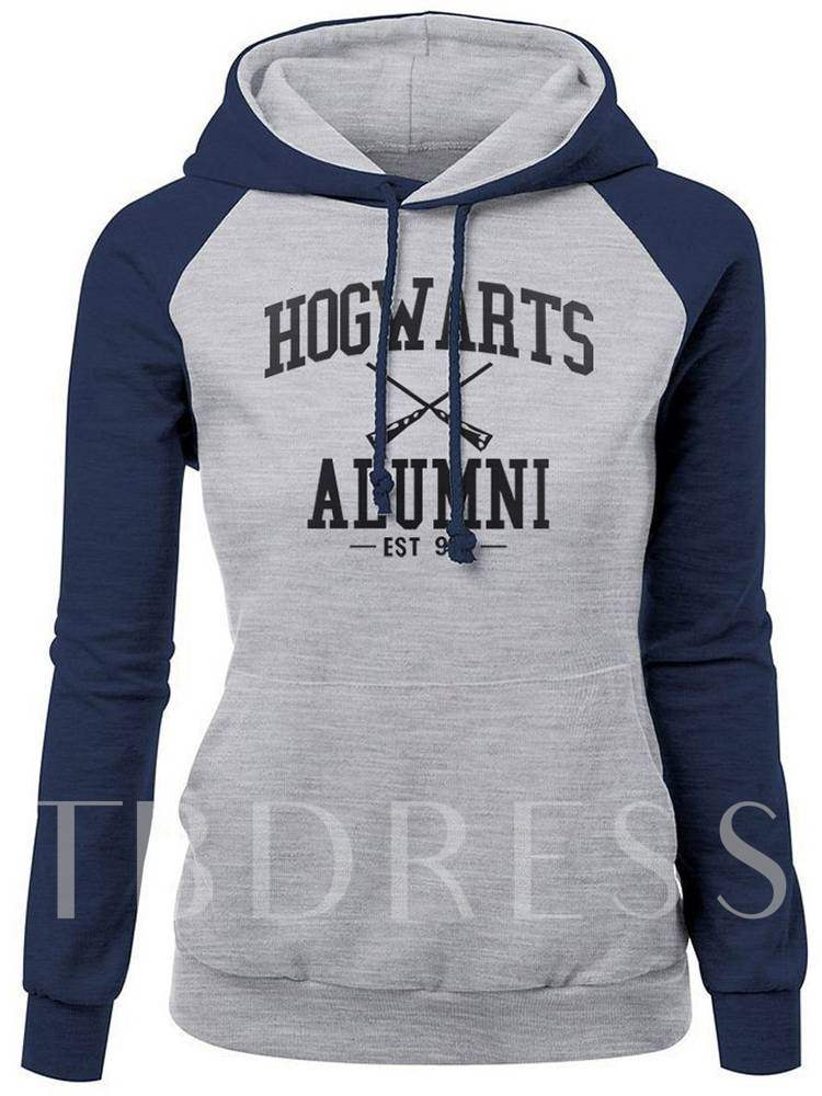 Buy Color Block Letter Print Women's Hoodie, Spring,Fall, 13412700 for $10.66 in TBDress store