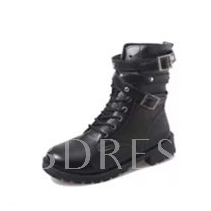 Buy Lace-Up Front Block Heel Buckle Round Toe Trendy Martin Boots, Spring,Fall,Winter, 13412042 for $33.08 in TBDress store