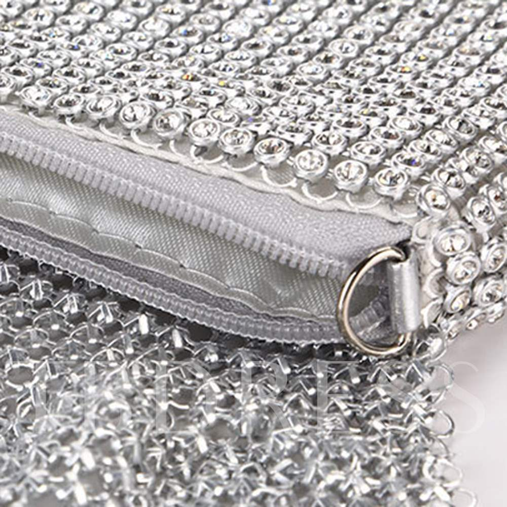Rectangle Chain Zipper Women Clutch