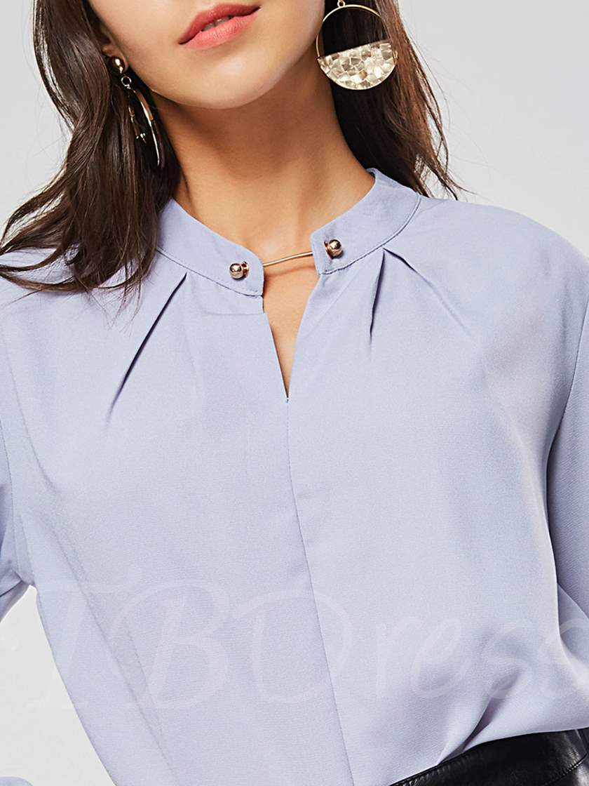 OL Plain Stand Collar Pleated Women's Blouse