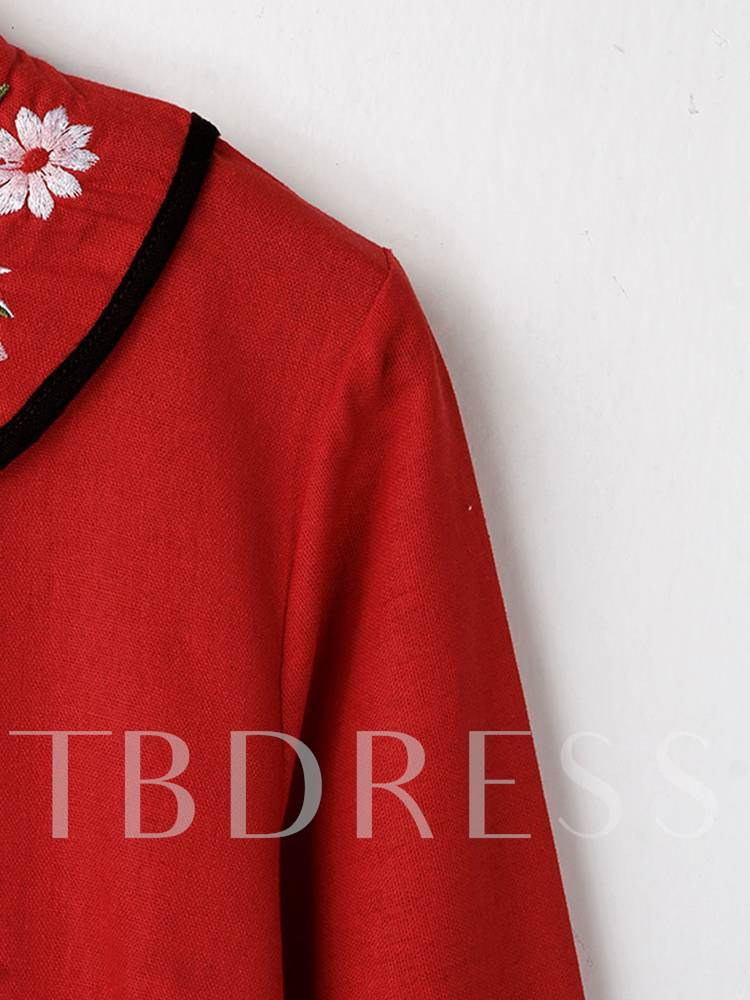 Red Embroidery Stand Collar Women's Long Sleeve Dress