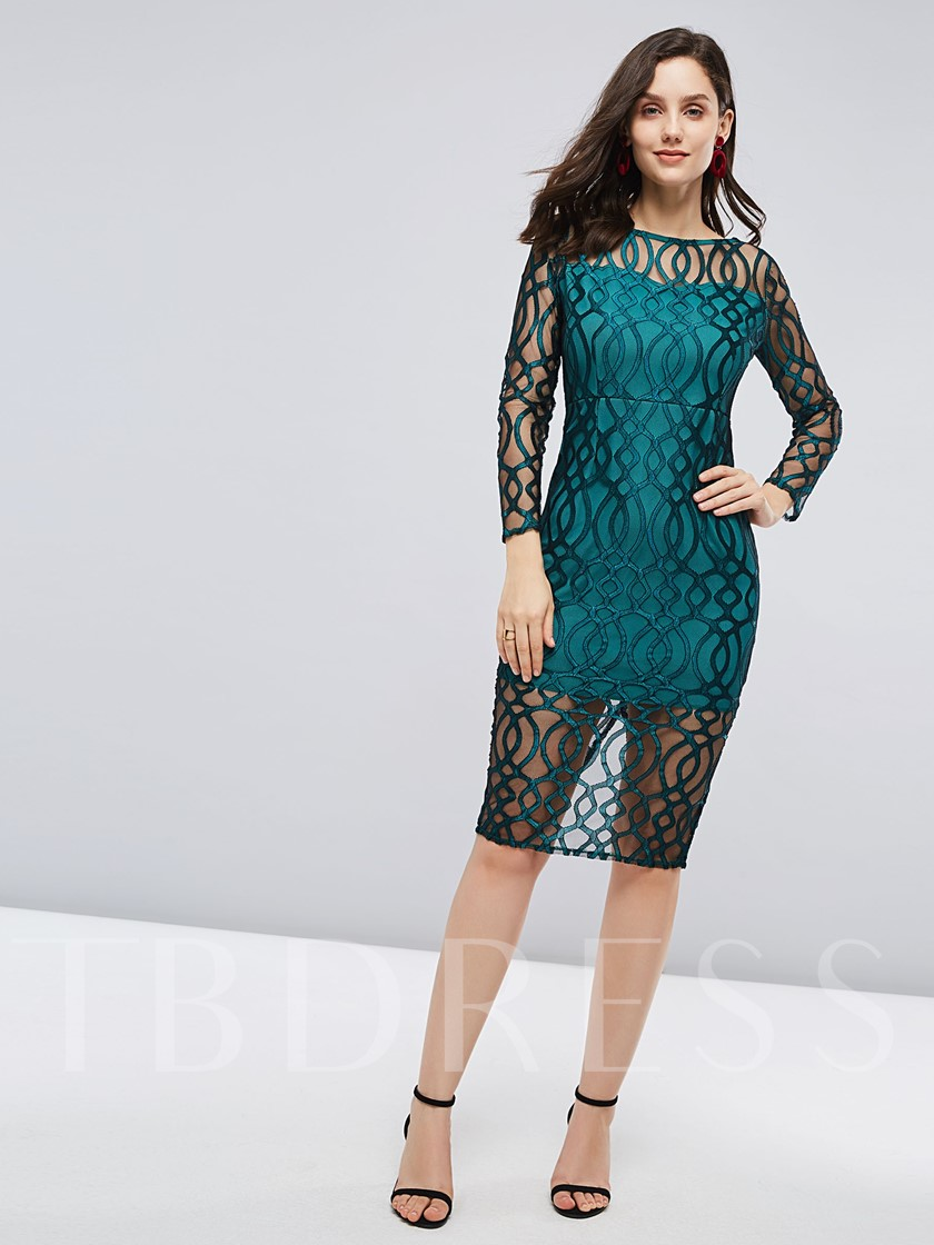 Green Long Sleeve Off Shoulder Women's Lace Dress