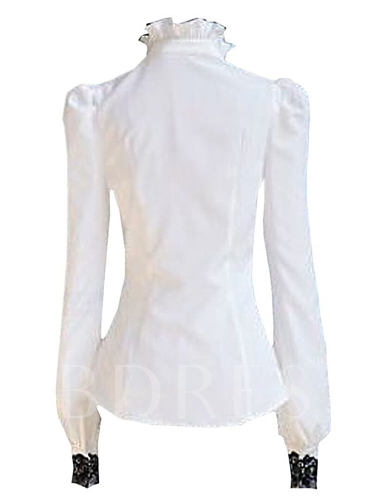 Vintage High Neck Lace Patchwork Single-Breasted Women's Shirt