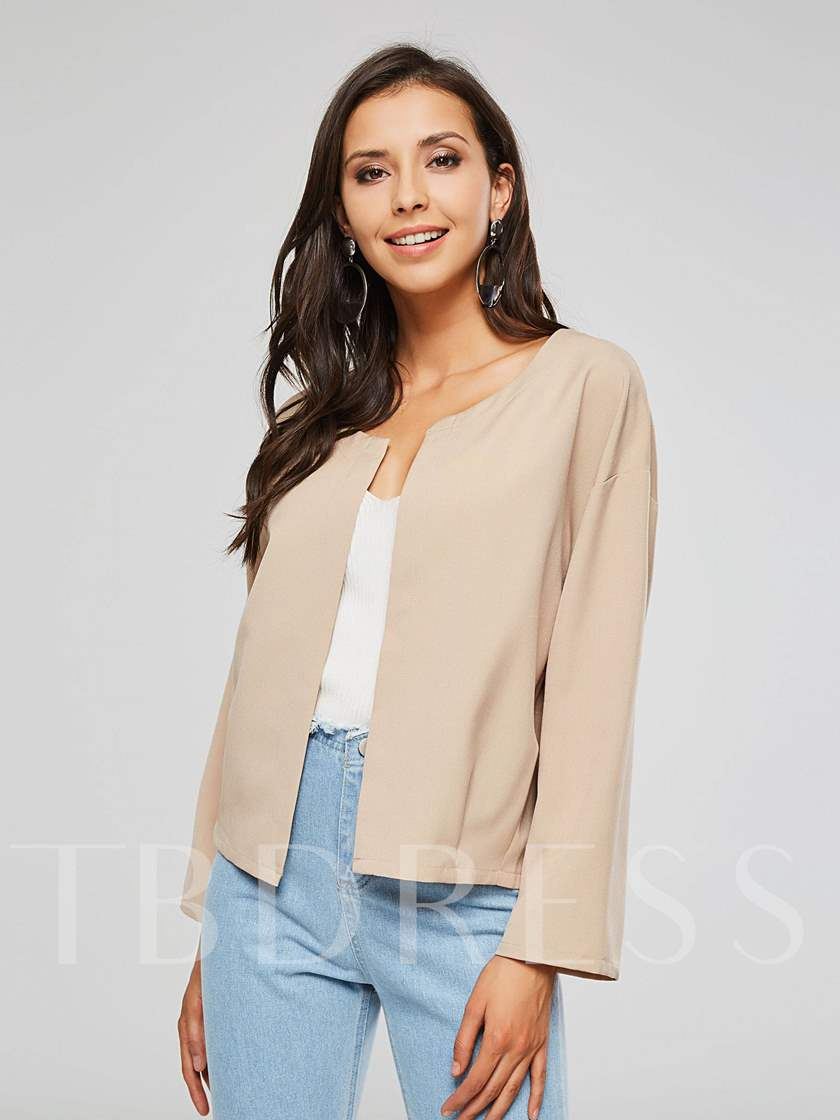 Plain Long Sleeve Wrapped Open Front Women's Jacket