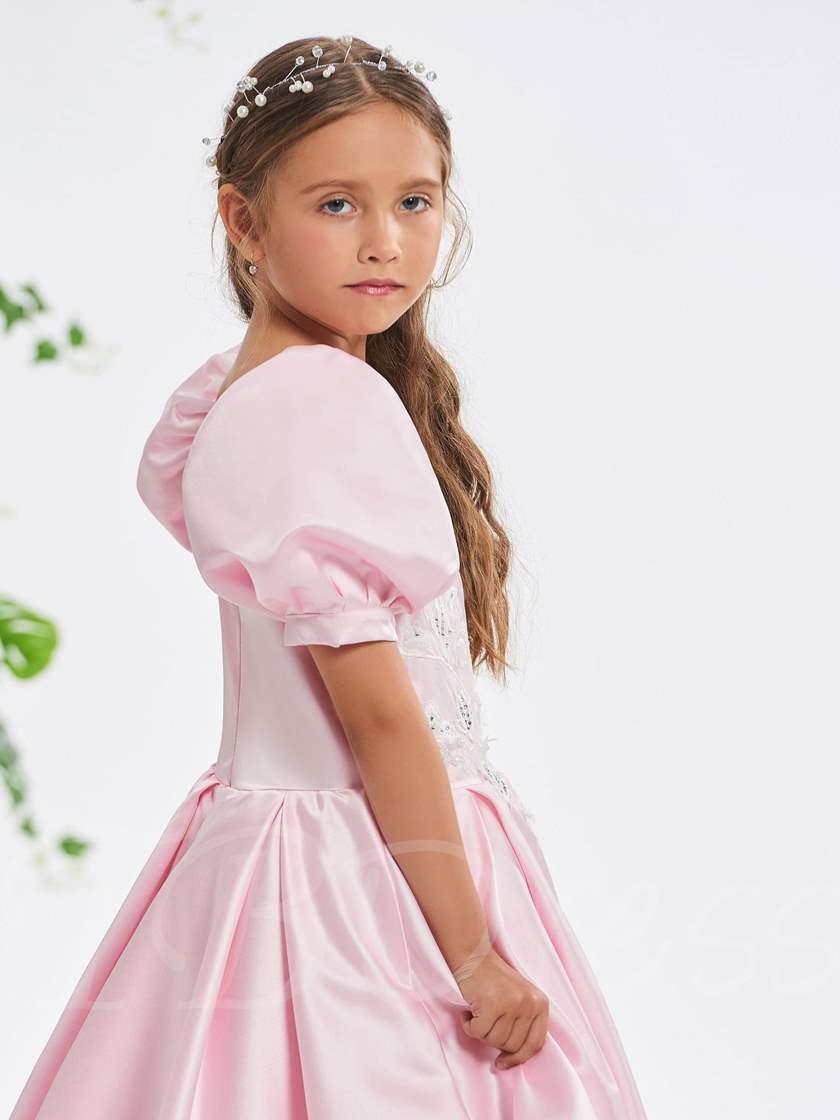 Square Neck Short Sleeves Flowers Girl's Party Dress