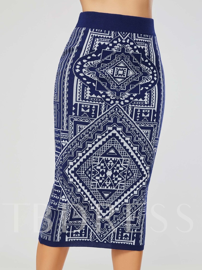Geometric Print Bodycon Women's Skirt