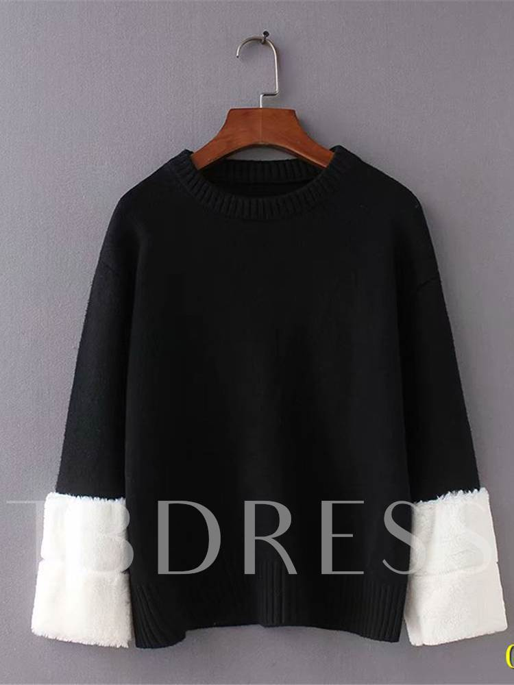 Faux Fur Patchwork Scoop Neck Contrast Color Women's Sweater