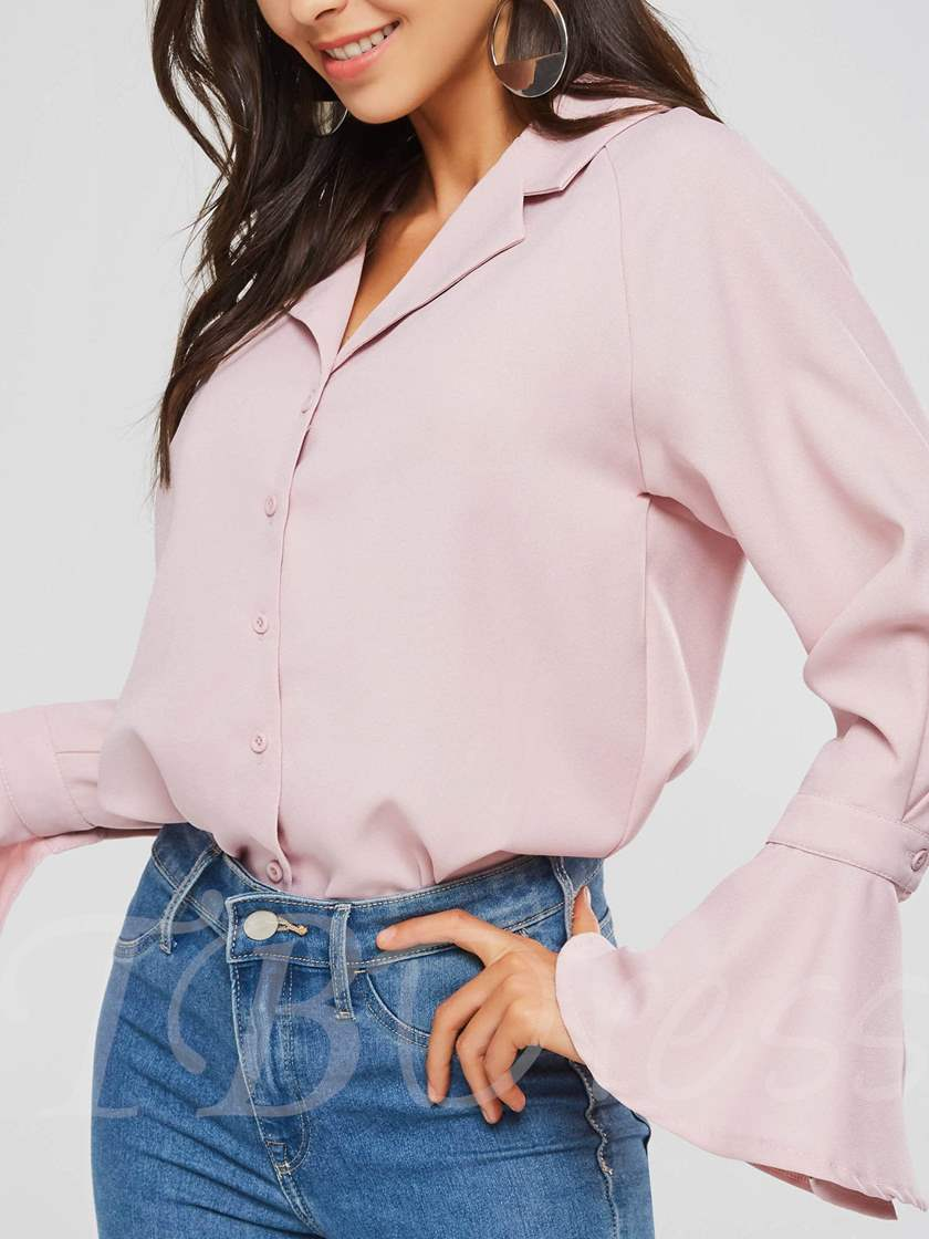 Flare Sleeve Button Up Plain Notched Lapel Women's Shirt